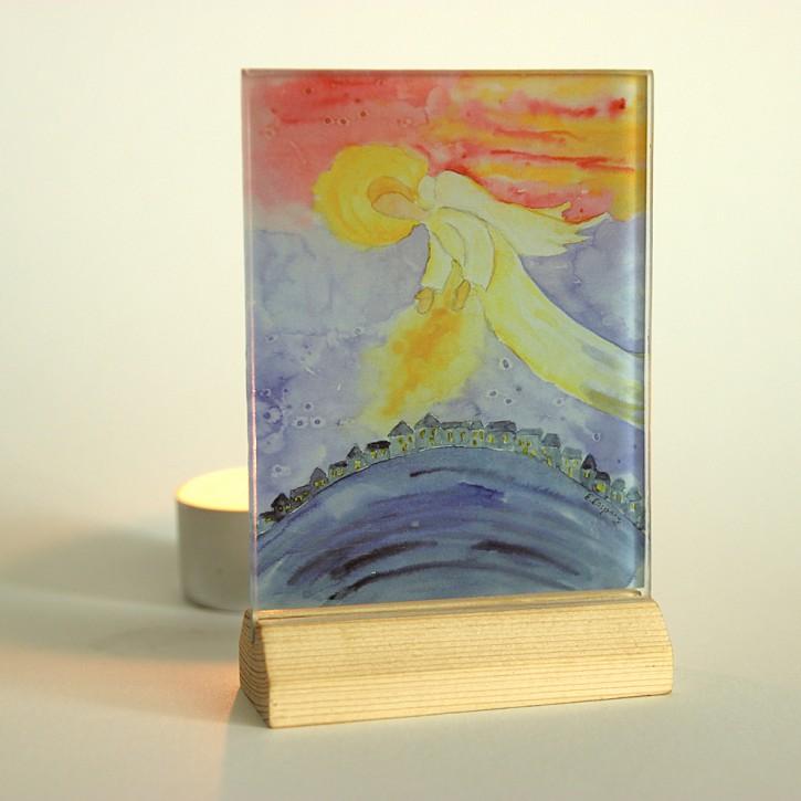 Lichtsymbol auf Glas: Engel