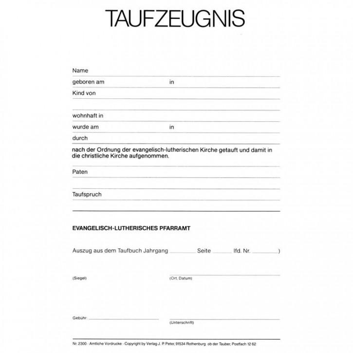 Taufzeugnis - Stammbuchform
