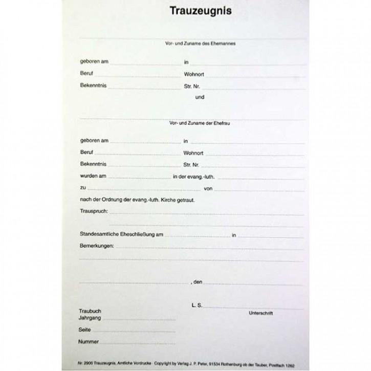 Trauzeugnis - Stammbuchform