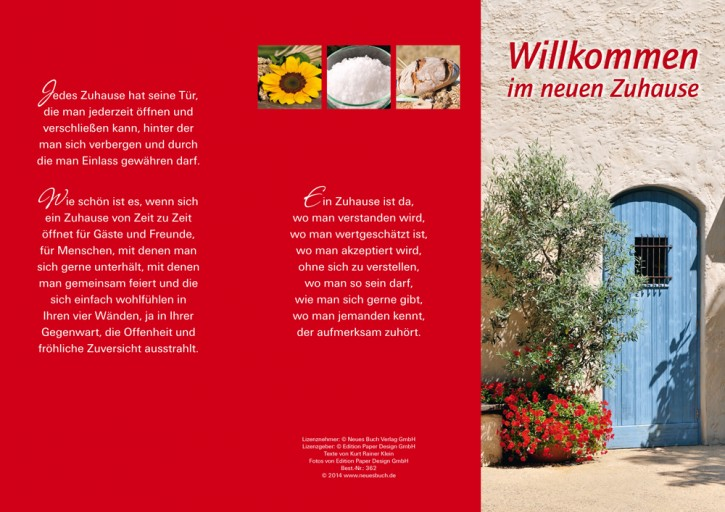 Leporellokarte: Willkommen im neuen Zuhause