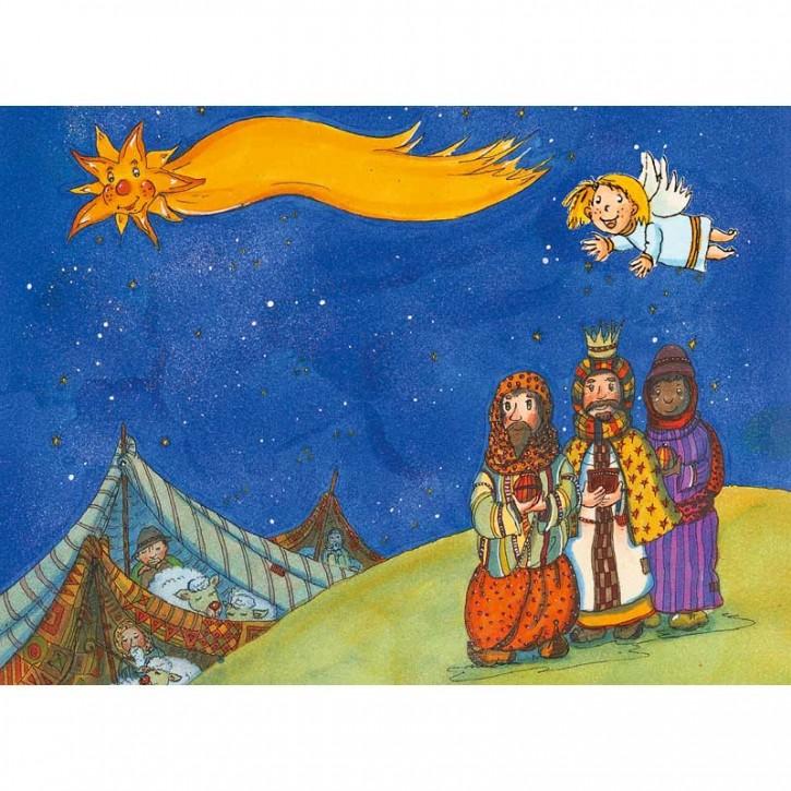 3-D- Postkarte Krippe, Hirten, Engel