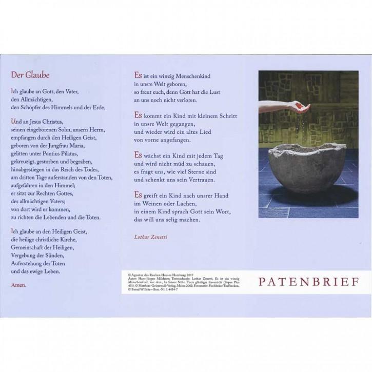 PC-Karte Patenbrief (10 St.) Motiv Taufbecken