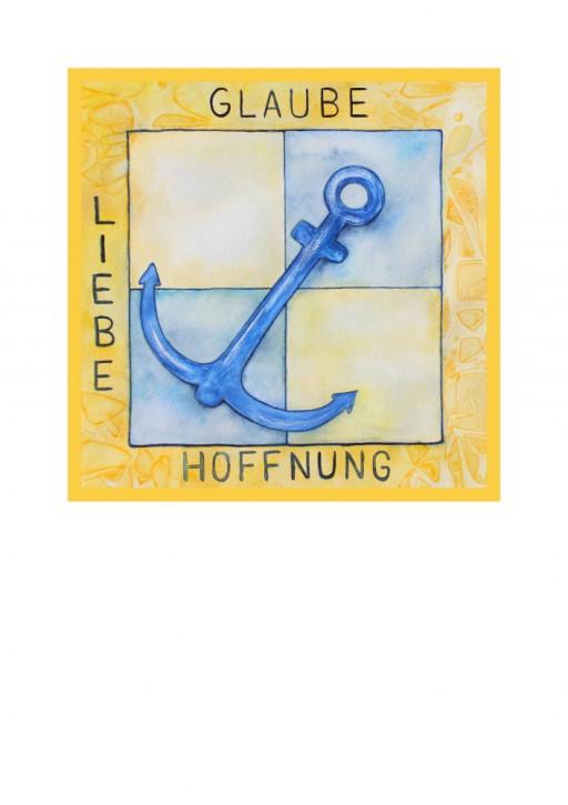 Urkunde/Gedenkblatt  Anker Glaube - Liebe - Hoffnung